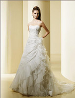 Wholesale white wedding dresses embroidery sleeveless Wedding Dress bridal gown zipper buttons Sz custom