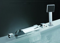 Waterfall Chrome Ceramic Triple Handle Chrome Bathroom Mixer Widespread Shower Bathtub Faucet Tap 6Pcs Ctn (Y-8001-F)