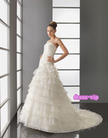 Wholesale China Clothing Ivory Layered Wedding Dresses Organza Court Train A Custom Made