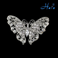 Wholesale Butterfly Pin Brooches Crystal Diamond Rhinestone Alloy Fashion Jewelry P168 Free Ship