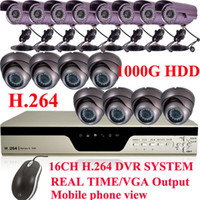 Wholesale 16 CCTV Armour Dome CCD waterproof camera CH TB H DVR Surveilance system