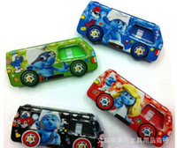 Wholesale New The smurfs Car pencil box plastic assorted Korea stationery Kids X mas Gi