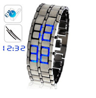 Wholesale Ice Samurai Japanese Inspired Blue LED Watch Fashion led watch blue led light watch for men s best
