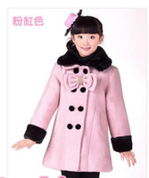 Coat Girl Winter girls coats kids outer wear outwear with bowknot pink and red coat cotton gament cute coat overcoat