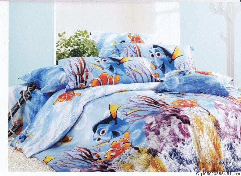 cartoon sea world nemo fish printing bedding set egyptian
