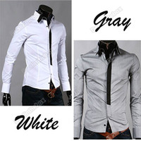 Wholesale New fashion Men Casual False Tie Slim fit Stylish Long Sleeve Shirts Luxury Polyester And Cotton