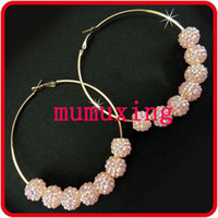 Wholesale 5Pair MM NEW Bling Colorful Resin Crystal Bead Ball Big Hoops Rhinestone Earrings Basketball Wives
