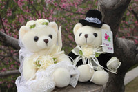 Cheap ON SALE!!!PANYA 18cm Wedding bears Couple joint car decoration Teddy Bear bridal bouquet a pair