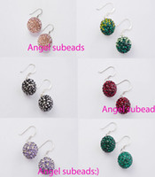 Wholesale 925 silver Disco crystal ball dangle earring pairs mix colors
