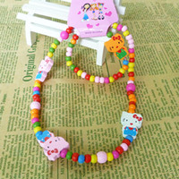 Wholesale Kids wood Beads strand Necklace Bracelet jewelry set children cheap