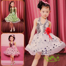 Wholesale Sequin Halter Dress Children s performance costumes Latin dance dress princess lace veil