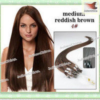 Wholesale Immediate Delivery quot Brown Micro Ring Loop Peruvian Human Hair Extension g strand Straight g set