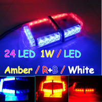 Wholesale 24 LED Mini Strobe Light Bar W LED Amber R B White Modes Emergency Warning