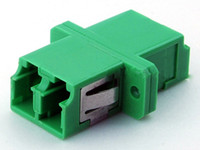 Wholesale Fiber Optic Adapter adaptor LC LC LC LC LC Duplex APC green plastic housing with flange Coupler