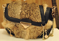 Wholesale rabbit hair Rivets gold buckle chain little satchel Women s Handbag shoulder bag