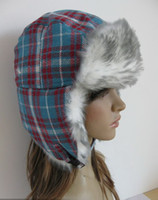 Wholesale winter russian fur hats Russian Ski Women s Hats Adult Ear Flap Blue Plaid