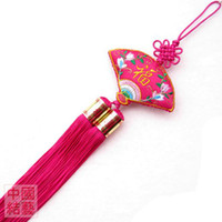Wholesale Lovely Car Hanging Ornament Chinese knot Silk Double Embroidery Tassel Crafts mix Free