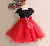 Wholesale Hot seller black red bow tie dress girls skirt kids nice formal dress Baby party full dress in stock