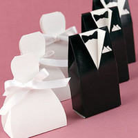 Hot Sale! Candy Boxes White Wedding Gown and Black Suit Candy Box Favor holders 100pcs( 50pairs) CB3