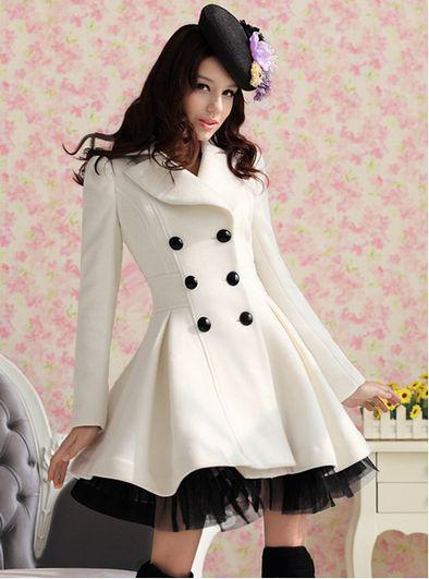 Wholesale New Women Ladies Girls White Double-Breasted Woolen