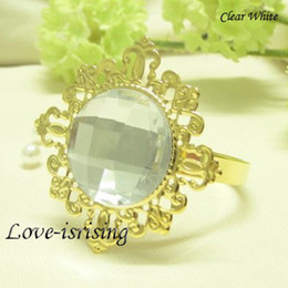 FREE DHL shipping-100pcs high quality,Clear Gem Gold Plated Napkin Ring Wedding Favors-New Arrivals