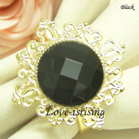 Wholesale FREE DHL shipping high quality Black Gem Gold Plated Napkin Ring Wedding Favors New Arrivals