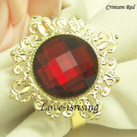 Wholesale high quality Crimson RED Gem Gold Napkin Rings Wedding Favors New Arrivals