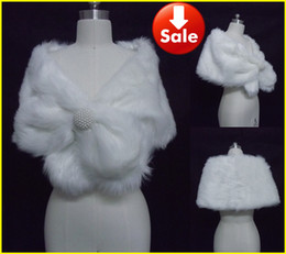 Wholesale White Faux Fur Pearl Shrug Cape Stole Wrap With Shawl Wedding Bridal Inches