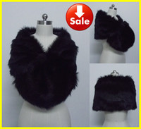 Wholesale Real Sample Free Ship Cheap Black Faux Fur Pearl Shrug Cape Stole Wrap Shawl Wediding Dresses