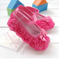 Wholesale Hot Sale Pink Mary Jane toddler baby girl Flower shoes size