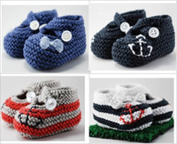 Handknit baby shoes cotton yarn crochet booties with chart 1...