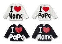 Wholesale new I love papa I love mama t shirts babys long sleeve T shirts boys girls t shirts