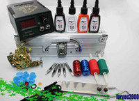 Wholesale Tattoo Kit Gold Machine Digital Power Supply System Inks Grips W Case For Beginner