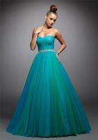 Wholesale New Elegant Strapless Tulle Beading Bridesmaid Wedding Gown Prom Ball Quinceanera dresses Custom