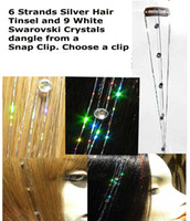Wholesale SWAROVSKI CRYSTAL HAIR EXTENSION WHITE DIAMOND sz M SILVER HAIR TINSEL quot CLIP IN