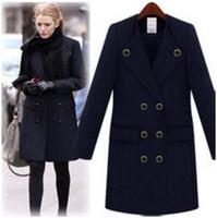 Women Regular Middle_Length woman clothes black woman coat double platoon buckle business suit coat wool overcoat