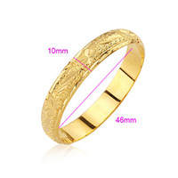 Wholesale Luxury K Yellow Gold Plated Bangle Bracelets With Flower Pattern