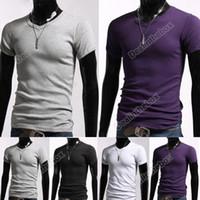 Men casual shirts for men - Men Stylish Casual V Neck Short sleeve Slim T shirt Size Colors For Selection