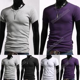 Wholesale Men Stylish Casual V Neck Short sleeve Slim T shirt Size Colors For Selection