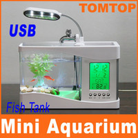 Wholesale Mini USB LCD Desktop Lamp Light Fish Tank Aquarium LED Clock White H4874W