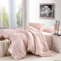 Wholesale pink flower floral pattern sateen fabric jacquard bedding full queen bed quilt duvet covers sets pc