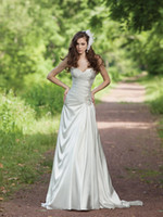 new york dresses - New York gorgeous pleated sweetheart neckline beaded dropped waist slim A line bridal wedding dress