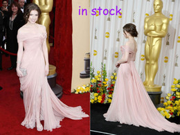 Wholesale 2012 New styles fashion chiffon pink US2 Off the shoulder Oscar Red Carpet Celebrity Dresses