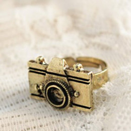 Wholesale 2011 New Design Vintage Personality Camera Stretch Adjustable Fashion Ring E1205 Antique silver