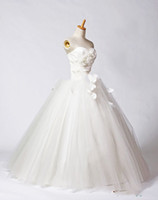 Wholesale 2015 Real sample organza handmade flower A line sexy ball gown bridal dress wedding dress wedding gown