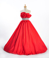 Cheap Real sample picture new strapless red satin A-lie crystal evening dress evening gown christmas gift