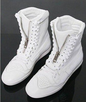 Black Lace-Up Men Wholesale New Style hot sale Special Fashion Zip Cross high-top British Casual Men's shoes EU39-44