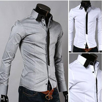 Wholesale Fashion Men s Shirt Mens Long Sleeve Shirts Casual Slim Fit False Tie Dress Shirts Size M L XL XXL