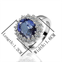 Wholesale Hot Best Siver Ring Blue Gemstone Ring Zircon Ring Diamond Ring Engagement Ring