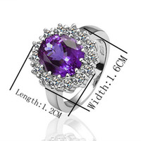 Wholesale Hot Best Siver Ring Purple Gemstone Ring Zircon Ring Diamond Ring Colors Fashion Jewelry